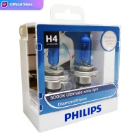 Philips Diamond Vision 5.000K H4 Bohlam Lampu Mobil Putih