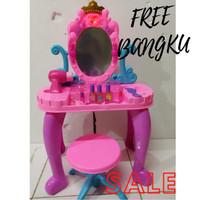 mainan anak cewek perempuan meja rias BANGKU KURSI pink CERMIN