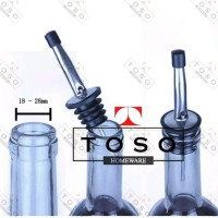 Pourer Stainless Stopper With Cap Tutup Botol Sirup Minyak Bottle T262