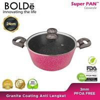 BOLDe Superpan Casserole Pot 24 cm Lid Glass Black Pink