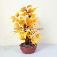 Pohon Bonsai Mini Daun Anggur Kuning Artificial Pot Semen High Quality
