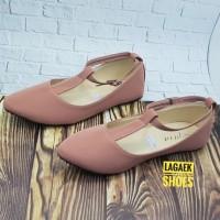 Sepatu Kerja Wanita Flat Shoes Wanita Warna Salem Model Tali T Polos