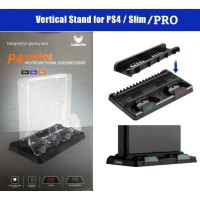 PS4 Slim&Pro Cooling Vertical Stand+Charger DS4+Games Box Display