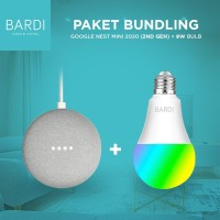 Google nest Mini + BARDI Smart Light bulb 9W RGBWW - Hitam