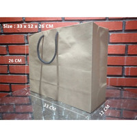 Paperbag Tali kur /Shopping Bag/Tas Kertas Polos - 33x12x26