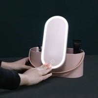 Dahlia Portable Makeup Case Cosmetic Organizer Storage Box With LED Li