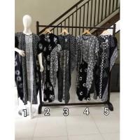 Daster/Longdress Kelelawar Jumbo Batik Cap Halus Warna Hitam-Putih