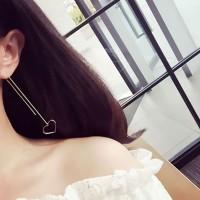 anting panjang hati hexagonal triangle long earrings jan200