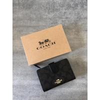 Coach Medium Signature Corner Zip Wallet in Leather Mahogay