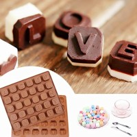 Cetakan Silikon Abjad ABCD Pudding Coklat Es Jelly Silicone Alphabet