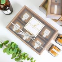 Box Sekat 6 mika semi transparan tebal elegan dus import - Cokelat