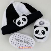 Paket Sepatu Bayi dan Topi Newborn Happy Baby Karakter LEB-Panda