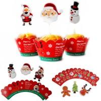 24Pcs Topper Kue Desain Santa Snowman Reindeer untuk Pesta Natal