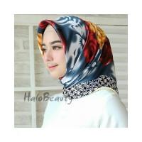satin hijab Bunga Kerudung Jilbab Segi Empat Premium Square Motif L111