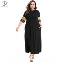 Dress Gamis Muslim Gaya Eropa Casual Ukuran Besar untuk Wanita