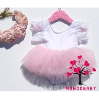 2IB-Newborn Kids Baby Girls Party Romper Dress Toddlers Lace Sleeve