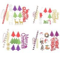 Topper Kue Desain Natal Bahan Kertas untuk Dekorasi Pesta