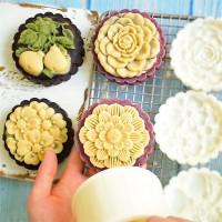 (4pc) cetakan kue bulan (150gr) mooncake press mold PREMIUM-FLOWER PE