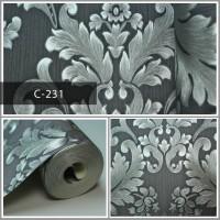 Wallpaper Sale Ready Klasik Silver Abu-abu 53CM X 10M