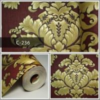 Wallpaper Sale Ready Klasik Emas Maroon 53CM X 10M