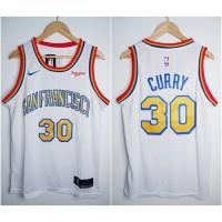 JERSEY BASKET NBA SANFRANCISCO #30 STEPHEN CURRY THROWBACK PUTIH 19/20