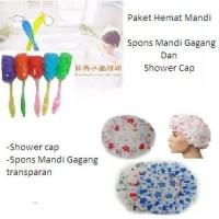 Paket Hemat Mandi Shower Cap dan Spons Mandi Gagang 2in 1