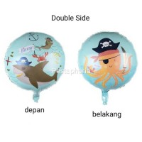 Balon Foil Bulat Happy Birthday HBD Pirate Shark & Octopus Double Side