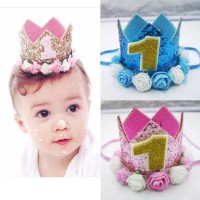 Flower Crown Glitter/Mahkota Flanel 1st 2nd 3rd 4th Birthday Boy/ Girl
