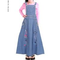 Baju Muslim Anak Gamis Overall Jeans anak tanggung bordir hello kitty