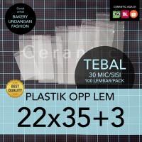 OPP LEM 22 x 35 +3 cm Plastik Bening Seal Bungkus Roti Undangan Baju