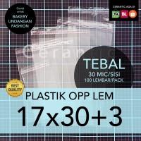 OPP LEM 17 x 30 +3 cm Plastik Bening Seal Bungkus Roti Undangan Baju