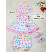Pakaian Bayi Perempuan Motif Owl /Setelan Baju Bayi 4in1 Uk 0-6bln-Owl
