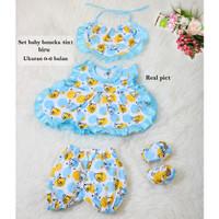 Setelan Baju Bayi Perempuan Lucu /Pakain Bayi Uk 0-6 Bln 4in1- boneka