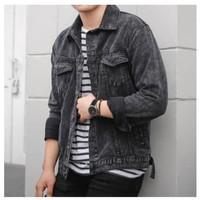 Emoline - Jaket Jeans Pria Sandwash / Jaket Stone Washing - Sandwash Hitam, M
