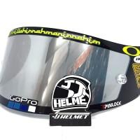 Kaca Visor Flat Helm KYT R10 Pnp Ink Cl Max Free Stiker Iridium Silver