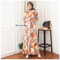 Baju Gamis Wanita Terbaru Motif Mozaid Jersey Gamis Busui Jumbo 7223