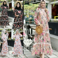 maxy kamboja 3 warna - maxi dress - gamis wanita muslim