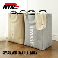 NTN Laundry Basket Keranjang Cuci Baju Kotor Bahan Kanvas - Cream