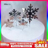 Natal 4Pcs Topper Kue Bentuk Snowflake