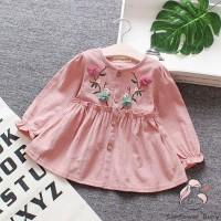 Zz-baby Dress A-Line Round Neck Lengan Panjang Motif Print Bunga