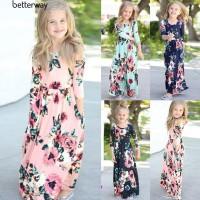 Panas Dress Maxi Wanita O-Neck Lengan Panjang Motif Print Bunga