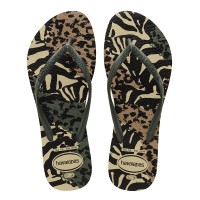 Havaianas Slim Animals 7807-Sandy Grey/Green Olive - Sandal Wanita