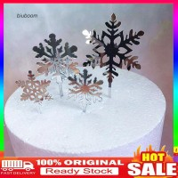 4Pcs Topper Kue Bentuk Snowflake Natal untuk Pesta / Dessert