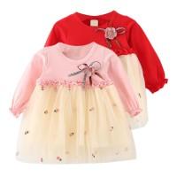 Dress Mini Lengan Panjang Cuff Rok Mesh Motif Print Bunga Aksen
