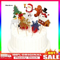 _10Pcs Christmas Tree Santa Deer Bell Snowflake Cake Topper Xmas