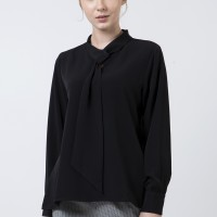 The Executive Shawl Collar Long Sleeves Blouse 5-BLWKEY120D030 Black