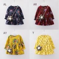 Dress Musim Gugur Casual Lengan Panjang Motif Print Bunga untuk