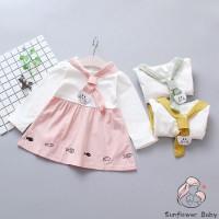 Zz-baby Dress Tutu Casual Lengan Panjang Motif Print Bunga Bahan