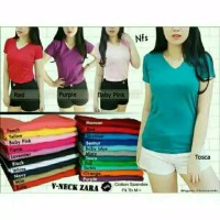 V-NECK Pendek / Kaos Polos / T-shirt / Atasan Pakaian Wanita