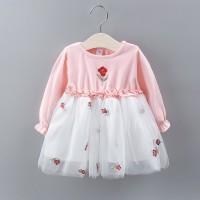 Dress Tutu Mesh Lengan Panjang Motif Bordir Bunga untuk Anak
